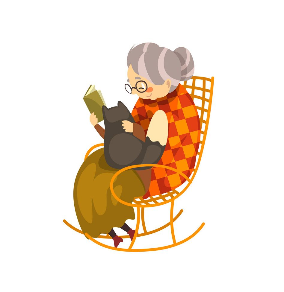 Cute granny sitting in a cozy rocking chair and reading a book, black cat lying on her knees, lonely old lady and her animal pet vector Illustration isolated on a white background.